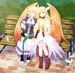 2girls angel angel_wings archangel bags_under_eyes blonde_hair boots bracelet breasts choker commission crown dept._heaven dress holding_hands ikumireii looking_at_another looking_to_the_side marietta nude orange_eyes smile wings wings_on_head yggdra_union yggdra_yuril_artwaltz yuri