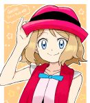 1girl blonde_hair blue_eyes closed_mouth cu-sith hat highres looking_at_viewer pokemon pokemon_(anime) pokemon_xy_(anime) serena_(pokemon) short_hair smile solo
