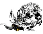 1boy alligator armor blade_(galaxist) crocodilian duto gem greyscale holding holding_weapon league_of_legends male_focus monochrome open_mouth pauldrons renekton scales sharp_teeth solo spot_color tail teeth vambraces weapon yellow_eyes