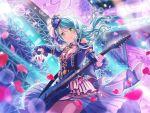 bang_dream! blue_hair blush dress green_eyes guitar hikawa_sayo long_hair smile