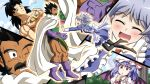2boys 2girls apron armor bat_wings black_eyes black_hair bow braid broly brown_footwear bruise cape closed_eyes clouds commentary_request crossover dragon_ball dragon_ball_z earrings facial_hair grey_hair hair_bow hat highres hoop_earrings injury izayoi_sakuya jewelry maid maid_headdress mob_cap multiple_boys multiple_girls mustache ohoho one_eye_closed open_mouth paragus purple_footwear purple_hair red_eyes remilia_scarlet scar scar_across_eye smile touhou twin_braids waist_apron wings