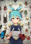 1boy :| absurdres antenna_hair beetle blue_butterfly blue_eyes blue_hair blue_vest bug butterfly character_name closed_mouth dragonfly expressionless heterochromia highres holding insect ladybug looking_at_viewer male_focus nara_shizuku pin puyopuyo red_eyes rhinoceros_beetle shadow shirt short_sleeves sig_(puyopuyo) solo stag_beetle translated twitter_username upper_body vest wasp