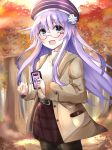 1girl absurdres alternate_costume autumn autumn_leaves belt beret bimmy blurry blurry_background cellphone d-pad d-pad_hair_ornament english_commentary eyebrows_visible_through_hair glasses hair_between_eyes hair_ornament hat highres holding holding_phone light_brown_jacket long_hair looking_at_viewer nepgear neptune_(series) open_mouth pantyhose phone purple_hair red_skirt shirt sidelocks skirt solo tree violet_eyes yellow_shirt
