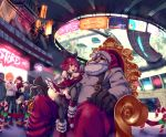 2boys 4girls absurdres ad alma_armas alternate_costume billboard bird christmas christmas_ornaments crow cyberpunk dorothy_haze flying_car food hamburger highres highway jill_stingray kira_miki mall multiple_boys multiple_girls namenloose santa_claus sitting sitting_on_lap sitting_on_person skyline soda_bottle sweatdrop va-11_hall-a