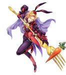 1boy alternate_costume animal_ears blonde_hair boots bow cape carrot fire_emblem fire_emblem:_the_binding_blade fire_emblem_heroes flower fork full_body gloves hat highres leaf narcian_(fire_emblem) official_art open_mouth rabbit_ears solo teeth transparent_background yamada_koutarou yellow_eyes
