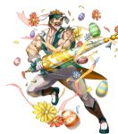 1boy alternate_costume animal_ears bartre_(fire_emblem) boots bow brown_eyes brown_hair dai-xt easter_egg egg facial_hair fire_emblem fire_emblem:_the_binding_blade fire_emblem_heroes flower full_body gloves headband highres muscle mustache official_art open_mouth rabbit_ears solo teeth transparent_background