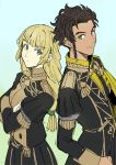 1boy 1girl back-to-back blonde_hair braid brown_hair claude_von_riegan crossed_arms dark_skin dark_skinned_male fire_emblem fire_emblem:_three_houses garreg_mach_monastery_uniform green_eyes highres ingrid_brandl_galatea long_hair looking_at_another oragamura999 short_hair uniform