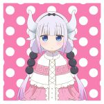 1girl artsy-rc bangs black_hairband blue_eyes blunt_bangs blush border capelet closed_mouth commentary dragon_horns english_commentary expressionless eyebrows_visible_through_hair fur_collar gradient_hair hair_bobbles hair_ornament hairband horns jitome kanna_kamui kobayashi-san_chi_no_maidragon looking_at_viewer multicolored_hair pink_background polka_dot polka_dot_background purple_hair solo twintails white_border white_capelet