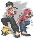 1boy 1girl black_hair bosstseng braid breasts crossover dual_persona fighting_stance grin medium_breasts muscle p-chan pig pikachu pokemon ranma-chan ranma_1/2 redhead saotome_ranma signature single_braid sleeveless smile sweatdrop