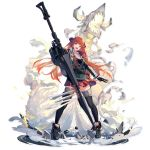 1girl :d ankle_boots arknights bagpipe_(arknights) bangs black_footwear black_gloves black_legwear boots elite_ii_(arknights) full_body gloves grey_jacket head_tilt highres holding holding_lance holding_weapon horns jacket lance long_hair long_sleeves looking_at_viewer miniskirt official_art open_mouth orange_hair plaid plaid_skirt pleated_skirt polearm red_skirt skirt smile solo standing thigh-highs transparent_background u_jie very_long_hair violet_eyes weapon zettai_ryouiki