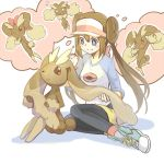 1girl blush_stickers brown_eyes creature double_bun eye_contact gen_4_pokemon hair_between_eyes happy legs_together long_hair looking_at_another looking_at_viewer lopunny mei_(pokemon) one_eye_closed pokemon pokemon_(creature) pokemon_(game) pokemon_bw2 pose ribbon shiro_q~ shoelaces shoes sidelocks sitting smile sneakers thinking thought_bubble twintails violet_eyes