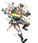 1boy alternate_costume animal_ears bartre_(fire_emblem) boots bow brown_eyes brown_hair dai-xt facial_hair fire_emblem fire_emblem:_the_binding_blade fire_emblem_heroes flower full_body gloves headband highres injury muscle mustache official_art rabbit_ears solo teeth torn_clothes transparent_background