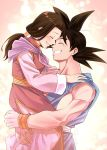 1boy 1girl :d ^_^ black_hair carrying chi-chi_(dragon_ball) china_dress chinese_clothes clenched_teeth closed_eyes closed_mouth couple dougi dragon_ball dragon_ball_z dress eyelashes fingernails forehead-to-forehead gradient gradient_background hands_on_another's_shoulders happy hetero husband_and_wife long_sleeves low_ponytail mattari_illust muscle neckerchief open_mouth pink_background pink_dress ponytail profile purple_neckwear shiny shiny_hair simple_background smile son_gokuu spiky_hair teeth twitter_username upper_body white_background wide_sleeves wristband