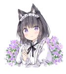 1girl animal_ear_fluff animal_ears bangs black_bow black_hair blush bow braid cat_ears closed_mouth commentary_request cropped_torso eyebrows_visible_through_hair flower hand_up juliet_sleeves long_sleeves looking_at_viewer maid_headdress original puffy_sleeves purple_flower shirt smile solo upper_body violet_eyes wataame27 white_background white_shirt