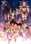1girl 6+boys :o ^_^ abs annoyed arm_around_neck armlet armor arms_at_sides backlighting bald bardock bare_arms bare_shoulders black_eyes black_footwear black_hair black_legwear blue_footwear blurry bokeh boots breasts broly_(dragon_ball_super) brothers cape chest_scar clenched_teeth closed_eyes closed_mouth clothes_around_waist clothes_writing commentary_request d: depth_of_field dougi dragon_ball dragon_ball_minus dragon_ball_super_broly dragon_ball_z facial_scar father_and_son fingernails from_above from_behind frown full_body gine gloves grey_hair grin hand_on_own_head happy highres hug king_vegeta light_particles light_smile locked_arms long_hair long_skirt looking_at_another looking_back mattari_illust medium_breasts monkey_tail mother_and_son multiple_boys muscle nape nappa nervous open_mouth pantyhose paragus_(dragon_ball_super) pectorals profile purple_legwear purple_skirt raditz scar scar_on_cheek scouter shadow shirtless siblings skirt smile son_gokuu spiky_hair star_(sky) sweatdrop tail tarble teeth thigh_strap time_paradox twitter_username vegeta very_long_hair waist_cape walking white_footwear white_gloves wristband