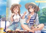 2girls :d :t ^_^ alternate_hairstyle braid breasts brown_hair closed_eyes eating eyebrows_visible_through_hair fishing_rod food food_on_face hair_over_shoulder hair_ribbon hat highres indian_style inou_shin kunikida_hanamaru long_hair love_live! love_live!_sunshine!! medium_breasts multiple_girls obentou official_art onigiri open_mouth outdoors ribbon shirt short_hair shorts sitting skirt smile socks stitched striped striped_shirt sun_hat suspender_skirt suspenders third-party_edit twin_braids wariza watanabe_you white_legwear