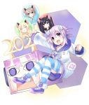 2020 5girls absurdres animal_ears balloon bangs bimmy black_hair blanc blonde_hair blue_eyes blush brown_hair clenched_hand collar collarbone commentary d-pad d-pad_hair_ornament english_commentary hair_ornament highres hood hoodie long_hair long_sleeves mouse_ears multiple_girls nepgyaa neptune_(neptune_series) neptune_(series) noire open_mouth outstretched_arm purple_hair red_eyes short_hair sidelocks striped striped_legwear sweatdrop thigh-highs v vert violet_eyes white_background white_hoodie