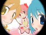 3girls :o blonde_hair blue_eyes blue_hair blush bow bubble_skirt chest_jewel choker close-up closed_mouth eyebrows_visible_through_hair gloves hair_bow head_tilt holding kaname_madoka looking_at_viewer mahou_shoujo_madoka_magica miki_sayaka multiple_girls parted_lips pink_vest puffy_short_sleeves puffy_sleeves red_bow red_choker red_eyes shirokuro-kun short_sleeves skirt smile standing tomoe_mami twintails twitter_username vest white_gloves white_skirt yellow_eyes