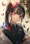 1girl bangs black_hair blurry blurry_background butterfly_hair_ornament commentary_request day depth_of_field expressionless hair_ornament haori head_tilt high_collar highres japanese_clothes kimetsu_no_yaiba leaf lens_flare light_trail looking_at_viewer majamari outdoors pink_eyes sheath sheathed short_hair side_ponytail solo standing sword tsuyuri_kanao uniform upper_body weapon