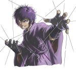 1boy basilisk_(manga) black_eyes bosstseng evil_grin evil_smile fingerless_gloves gloves grin japanese_clothes male_focus purple_hair smile solo upper_body wire yashamaru