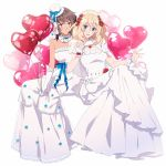 amazuki_jou andou_(girls_und_panzer) balloon black_hair blonde_hair blue_eyes dark_skin dress girls_und_panzer gloves heart highres jewelry medium_hair messy_hair oshida_(girls_und_panzer) ring wedding_band wedding_dress wife_and_wife yuri