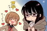2girls arrow_(symbol) artist_name black_hair blush bow brown_hair closed_eyes cold collared_shirt commentary glasses heart himawari-san himawari-san_(character) kazamatsuri_matsuri multiple_girls open_mouth red_bow sailor_collar school_uniform shirt signature smile sugano_manami sweater translation_request trembling two-tone_background violet_eyes white_shirt