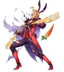 1boy alternate_costume animal_ears blonde_hair boots bow cape carrot fire_emblem fire_emblem:_the_binding_blade fire_emblem_heroes flower fork full_body gloves hat highres leaf narcian_(fire_emblem) official_art open_mouth rabbit_ears solo teeth torn_clothes transparent_background yamada_koutarou yellow_eyes