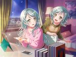 bang_dream! blush dress green_eyes green_hair hikawa_sayo long_hair smile