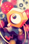abstract_background black_eyes commentary commentary_request crayonchewer creature full_body gen_7_pokemon highres no_humans pokemon pokemon_(creature) signature solo