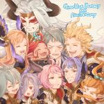 5boys 5girls ahoge anger_vein animal_ears arm_over_shoulder blonde_hair blush braid chabo213 closed_eyes draph erune esser facepaint facial_hair funf granblue_fantasy hair_between_eyes hair_ornament hair_over_one_eye hand_on_own_chin harvin headband highres horns long_hair mole mole_under_eye multiple_boys multiple_girls mustache nio_(granblue_fantasy) okto open_mouth pink_hair pointy_ears purple_hair quatre_(granblue_fantasy) siete silver_hair six_(granblue_fantasy) smile song_(granblue_fantasy) thalatha_(granblue_fantasy) uno_(granblue_fantasy) white_hair