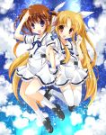 2girls blonde_hair blue_background blue_eyes blue_ribbon blush brown_hair clouds couple fate_testarossa hair_ribbon happy highres kanan_asuka locked_arms long_hair lyrical_nanoha mahou_shoujo_lyrical_nanoha mahou_shoujo_lyrical_nanoha_a's multiple_girls open_mouth red_eyes ribbon school_uniform short_hair short_twintails smile star takamachi_nanoha twintails uniform white_ribbon yuri