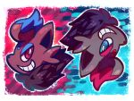 alternate_color blue_eyes brown_eyes commentary crayonchewer creature english_commentary face gen_5_pokemon grin no_humans pokemon pokemon_(creature) shiny_pokemon signature smile zorua