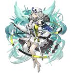 1girl arknights bangs bare_shoulders bibeak_(arknights) bird blue_flower blue_rose capelet dress elite_ii_(arknights) eyebrows_visible_through_hair flower gloves green_dress grey_eyes hair_flower hair_ornament high_heels holding holding_sword holding_weapon long_hair looking_at_viewer low_wings official_art puffy_short_sleeves puffy_sleeves rayvon rose scabbard sheath short_sleeves silver_hair solo sword thigh_strap transparent_background weapon white_footwear white_gloves wings