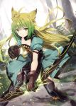 1girl animal_ear_fluff animal_ears atalanta_(fate) backlighting bangs black_legwear bow_(weapon) braid brown_gloves brown_hair cat_ears closed_mouth commentary_request day dress eyebrows_visible_through_hair fate/apocrypha fate_(series) gabiran gloves gradient_hair green_dress green_eyes green_hair holding holding_bow_(weapon) holding_weapon long_hair looking_at_viewer multicolored_hair outdoors puffy_short_sleeves puffy_sleeves short_sleeves solo sunlight thigh-highs tree v-shaped_eyebrows very_long_hair weapon