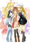 3girls annotated black_footwear black_legwear blue_eyes blue_footwear boots breasts brown_footwear eye_contact flat_chest full_body gloves height_difference long_hair looking_at_another multiple_girls multiple_persona necktie pokemon pokemon_(anime) pokemon_(game) pokemon_special pokemon_xy pokemon_xy_(anime) ponytail serena_(pokemon) shiro_q~ short_hair sky_trainer_uniform small_breasts smile standing thigh-highs tied_hair uniform white_gloves y_na_gaabena