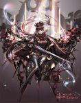 1girl black_cape black_legwear bow cape earrings flower gloves hair_flower hair_ornament highres holding holding_sword holding_weapon jewelry kabi_(kb) long_hair looking_at_viewer pixiv_fantasia pixiv_fantasia_age_of_starlight pointy_ears red_eyes solo sunlight sword thigh-highs weapon