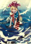 1girl absurdres american_flag_dress american_flag_legwear bird blonde_hair clownpiece day feathers hat highres jester_cap light_rays long_hair looking_at_viewer neck_ruff open_mouth outdoors pantyhose partially_submerged purple_headwear red_eyes ripples short_sleeves sunbeam sunlight takushiima touhou water