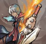 1boy blue_coat blue_eyes coat dated devil_may_cry eyebrows_visible_through_hair eyes_visible_through_hair fire glint glowing hair_between_eyes headphones holding holding_sword holding_weapon hood hood_down jewelry male_focus meme50 nero_(devil_may_cry) ring smile solo sword weapon