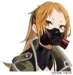 1girl brown_eyes coat code_vein copyright_name gas_mask green_coat highres looking_at_viewer mask masked monone mouth_mask murasame_rin_(code_vein) orange_hair ponytail portrait solo