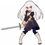 1girl artist_name blue_legwear boots do_m_kaeru fire_emblem fire_emblem:_three_houses full_body garreg_mach_monastery_uniform holding holding_sword holding_weapon knee_boots long_hair long_sleeves lysithea_von_ordelia open_mouth pink_eyes simple_background solo sword uniform weapon white_background white_hair