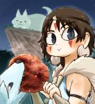 2girls :> :3 animal animal_ears armband biting blue_eyes blush boned_meat brown_hair chamaji cliff closed_eyes closed_mouth earrings eating eyebrows_visible_through_hair facepaint facial_mark food fur hands_up headband highres jewelry looking_at_viewer meat mononoke_hime moro_(mononoke_hime) multiple_girls necklace night outdoors saliva san shirt short_hair smile tooth_necklace upper_body white_fur white_shirt wolf