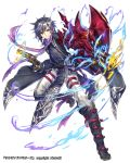 1boy belt black_coat black_gloves black_legwear boots closed_mouth coat fire gloves grey_hair gun highres holding holding_gun holding_weapon male_focus official_art purple_scarf renta_(deja-vu) scarf simple_background smile solo thousand_memories weapon white_background yellow_eyes