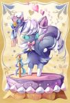 blue_sclera chaloc7 creature full_body gen_6_pokemon green_eyes hat meowstic meowstic_(male) no_humans pokemon pokemon_(creature) purple_ribbon ribbon solo standing top_hat