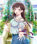 1girl blue_skirt blurry blurry_background bracelet braid breasts brown_eyes brown_hair collarbone denim denim_skirt floral_print frills half_updo highres jewelry kanojo_okarishimasu key_visual large_breasts long_hair looking_at_viewer mizuhara_chizuru official_art open_mouth reaching_out ring short_sleeves skirt solo