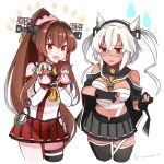 2girls asymmetrical_legwear bangs bare_shoulders black_gloves blush breasts brown_hair budget_sarashi cropped_legs dark_skin elbow_gloves glasses gloves grey_skirt hair_ornament headgear highres hip_vent holding kantai_collection large_breasts long_hair multiple_girls musashi_(kantai_collection) open_mouth partly_fingerless_gloves ponytail red_eyes red_skirt sarashi simple_background skirt thigh-highs twitter_username white_hair yamato_(kantai_collection) yunamaro
