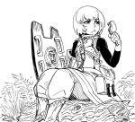 1girl :t bb_(baalbuddy) boots eating food food_on_face fortress_(sekaiju) fried_chicken grass greyscale hand_up highres holding holding_food holding_shield legs_together long_sleeves monochrome pouch sekaiju_no_meikyuu sekaiju_no_meikyuu_3 shield short_hair simple_background sitting solo white_background