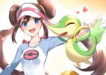 1girl blue_eyes blush bow breasts brown_hair double_bun long_hair mei_(pokemon) open_mouth pink_bow pokemon pokemon_(creature) pokemon_(game) pokemon_bw2 raglan_sleeves smile snivy twintails very_long_hair visor_cap yuduki_(tt-yuduki)
