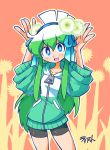 1girl :d bike_shorts blue_eyes blue_ribbon blush bright_pupils commentary contrapposto english_commentary eyebrows_visible_through_hair flower flower_request green_hair hair_flower hair_ornament hair_ribbon hands_up highres hood hood_down hoodie konegi_(rariatto) long_hair looking_at_viewer multicolored_hair open_mouth original rariatto_(ganguri) ribbon signature smile solo spring_onion standing two-tone_hair very_long_hair wide_sleeves zipper