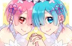 2girls blue_eyes blue_hair blue_nails bob_cut closed_mouth flower hair_flower hair_ornament hair_over_one_eye looking_at_viewer maid maid_headdress mitsu06260626 multiple_girls nail_polish one_eye_closed pink_eyes pink_hair pink_nails ram_(re:zero) re:zero_kara_hajimeru_isekai_seikatsu rem_(re:zero) siblings sisters smile sparkle twins upper_body x_hair_ornament yellow_background