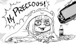 1girl bags_under_eyes bb_(baalbuddy) catchphrase chips cola doma_umaru english_text eyebrows_visible_through_hair food gollum greyscale handheld_game_console himouto!_umaru-chan hood hood_up komaru lord_of_the_rings monochrome open_mouth parody playstation_vita potato_chips robe sharp_teeth solo_focus squatting sweatdrop teeth wide-eyed